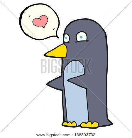freehand drawn speech bubble cartoon penguin