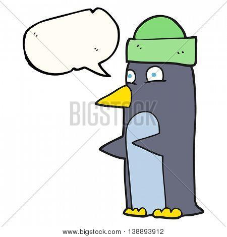 freehand drawn speech bubble cartoon penguin wearing hat