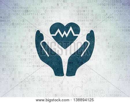 Insurance concept: Painted blue Heart And Palm icon on Digital Data Paper background with  Tag Cloud