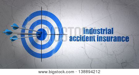 Success Insurance concept: arrows hitting the center of target, Blue Industrial Accident Insurance on wall background, 3D rendering