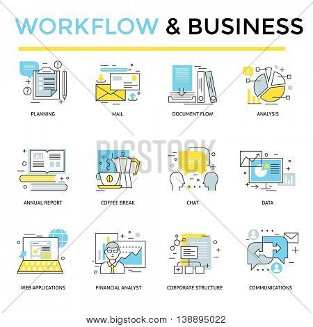 Work flow and business concept icons, thin line flat design