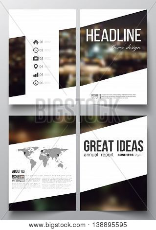 Set of business templates for brochure, magazine, flyer, booklet or annual report. Dark background, blurred image, night city landscape, Paris cityscape, modern vector template.