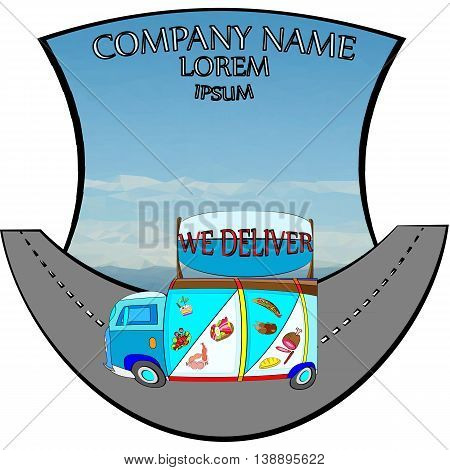 vector illustration of a food concept delivery service van with grocery advert on the board