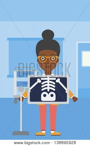 An african-american woman with x ray screen showing her skeleton in examination room. Vector flat design illustration. Vertical layout.