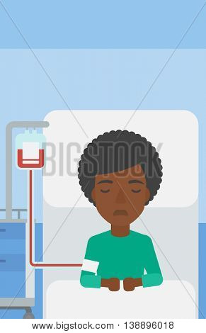 An african-american woman lying in bed at hospital ward with equipment for blood transfusion. Vector flat design illustration. Vertical layout.