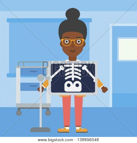An african-american woman with x ray screen showing her skeleton in examination room. Vector flat design illustration. Square layout.