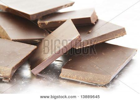Stack Of Broken Bitter Chocolate