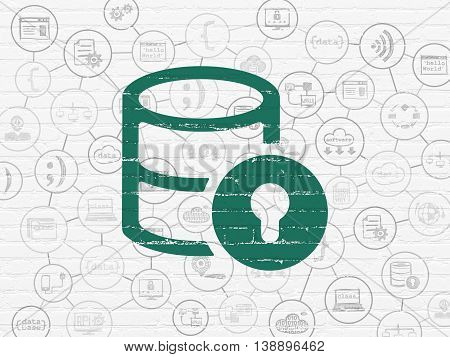 Software concept: Painted green Database With Lock icon on White Brick wall background with Scheme Of Hand Drawn Programming Icons