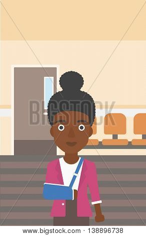 An african-american young woman with broken right arm in brace standing in the hospital corridor. Vector flat design illustration. Vertical layout.