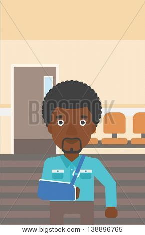 An african-american man with broken right arm in brace standing in the hospital corridor. Vector flat design illustration. Vertical layout.