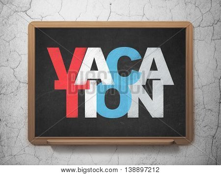 Entertainment, concept: Painted multicolor text Vacation on School board background, 3D Rendering