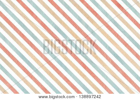 Watercolor Pink, Beige And Blue Striped Background.
