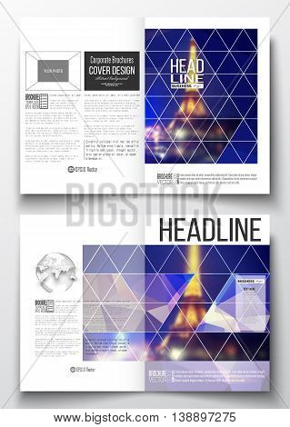 Set of business templates for brochure, magazine, flyer, booklet or annual report. Dark polygonal background, blurred image, night city landscape, Paris cityscape, modern triangular vector texture.