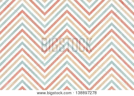 Watercolor Pink, Beige And Blue Stripes Background, Chevron.