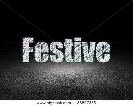 Holiday concept: Glowing text Festive in grunge dark room with Dirty Floor, black background