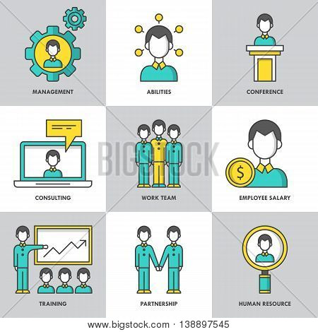 Businesss management and corporate conculting modern thin line icons for web graphics and logo design. Isolated vector illustration