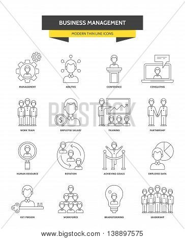 Businesss management corporate consulting and leadership modern thin line icons for web graphics and logo design. Isolated vector illustration