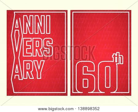 Vector Illustration of Anniversary 60th Outline for Design, Website, Background, Banner. Jubilee silhouette Element Template for festive greeting card. Shiny gold Confetti celebration
