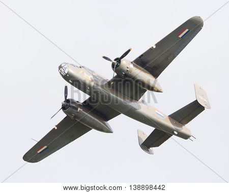 Leeuwarden, The Netherlands - June 10: Ww2 B-25 Mitchell Bomber In Dutch Markings During The Dutch A