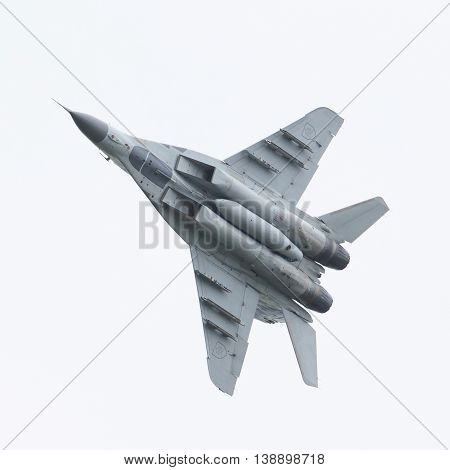 Leeuwarden, The Netherlands - June 10, 2016: Slovak Air Force Mig-29 Fulcrum During A Demonstration