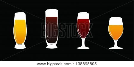 Vector an illustration with the image of a set of beer glasses with beer of white color.Beer glasses set Beer mugs.Pints of cold beer vector. Dark, Amber and light.pub menu