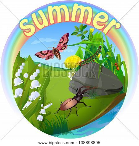 vector children's illustration of nature in the form of insect life in the forest in a clearing in the grass