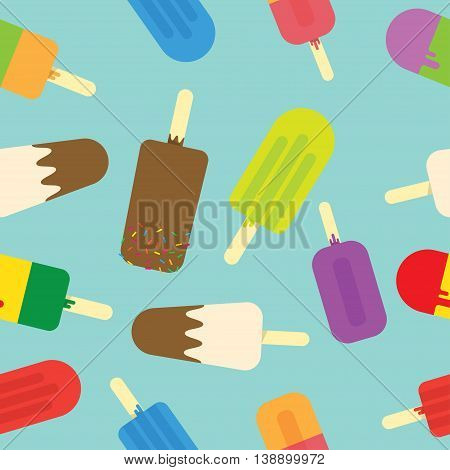 Vector seamless pattern ice cream on dark background