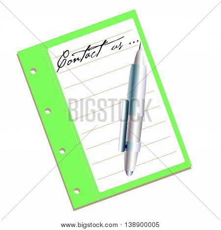 Isolated green notebook with a pen and the text contact us written on the notebook with handwritten letters