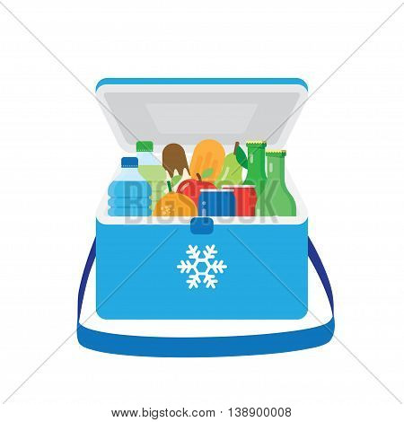 freezer-bag in blue color with fruits and drinks. vector illustration isolated on white background
