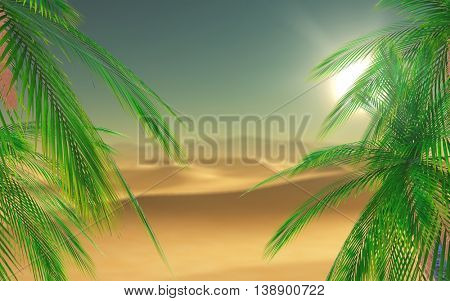 3D render of palm tree leaves looking out to a desert scene