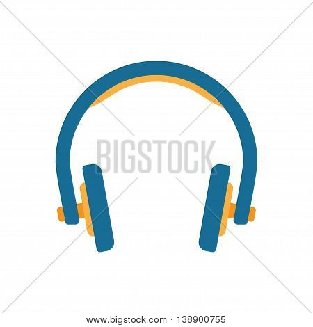 Headphones in flat style. Vector Illustration Isolated on White Background