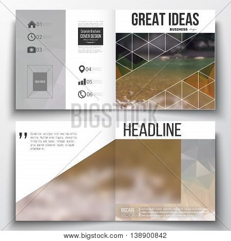 Set of annual report business templates for brochure, magazine, flyer or booklet. Colorful polygonal backdrop, blurred natural background, modern stylish triangle vector texture.