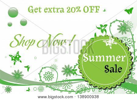 Green background with summer decorations and the text summer sale written on a rounded element. Summer sales concept