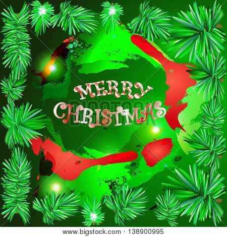 vector illustration of fir tree branches as a frame green and red watercolored abstract chrismas decoration in the middle with candy merry christmas sign that easy to change to any of your own text