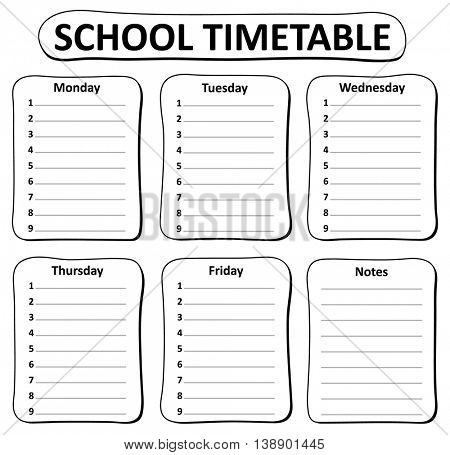 Black and white school timetable theme 1 - eps10 vector illustration.