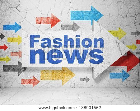 News concept:  arrow with Fashion News on grunge textured concrete wall background, 3D rendering