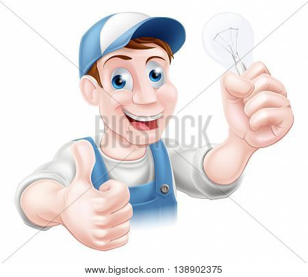 Thumbs Up Electrician Light Bulb