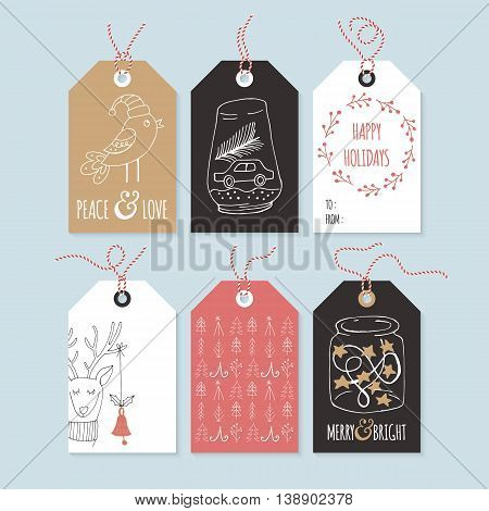 Christmas hand drawing gift tag set. Isolated vector illustration
