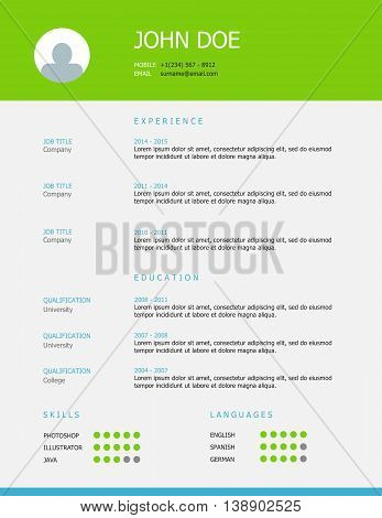 Professional simple styled resume template design with green and blue headings.