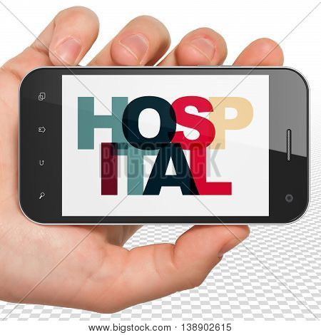 Healthcare concept: Hand Holding Smartphone with Painted multicolor text Hospital on display, 3D rendering
