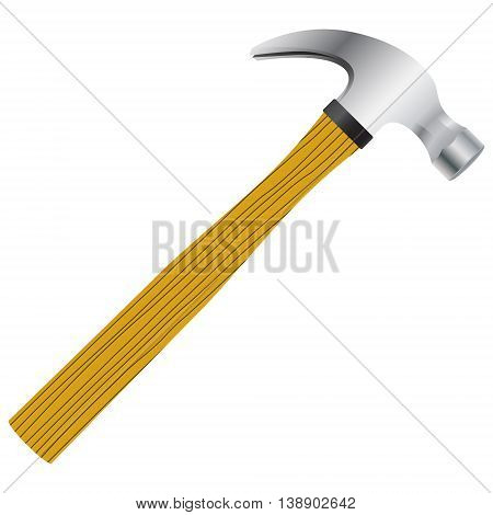 Hammer with wooden handle. Vector image in a realistic style.