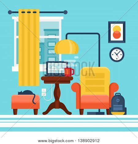 Working at home and freelance concept. Flat modern stylish room interior vector illustration