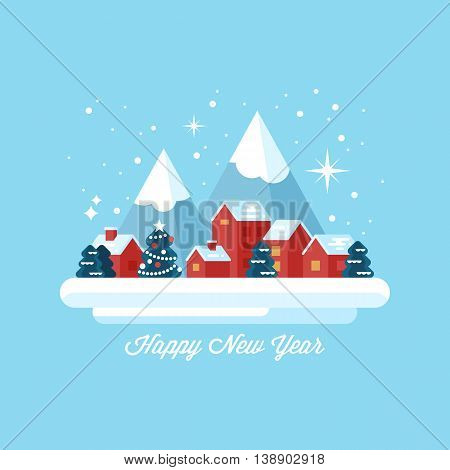 Happy New Year greeting card design with small winter village landscape