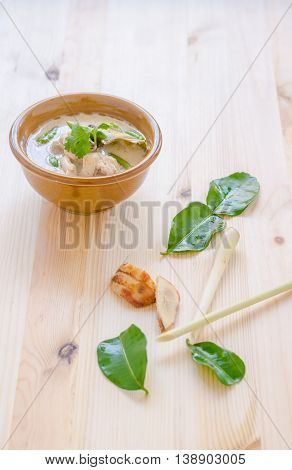 Thai Chicken Soup In Coconut Milk (tom Kha Gai) On Wooden Background, Thai Food.
