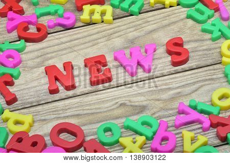 News word on wooden table
