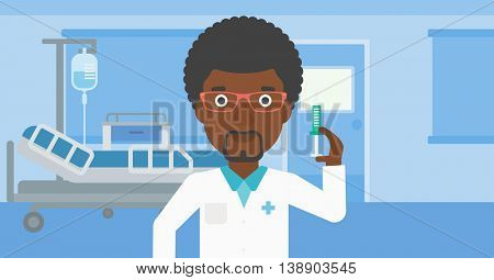An african-american doctor with the beard holding medical injection syringe on the background of hospital ward. Vector flat design illustration. Horizontal layout.
