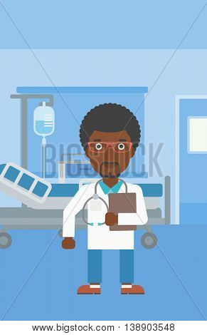 An african-american friendly doctor with stetoscope standing in hospital ward and carrying folder of patient or medical information. Vector flat design illustration. Vertical layout.