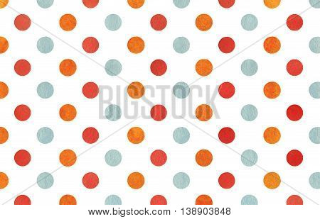 Watercolor Orange, Blue And Red Polka Dot Background.