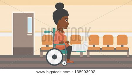An african-american young injured woman with broken leg in plaster sitting in wheelchair in the hospital corridor. Vector flat design illustration. Horizontal layout.