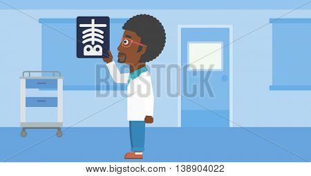 An african-american doctor with the beard looking at a skeleton radiograph in the medical office. Vector flat design illustration. Horizontal layout.